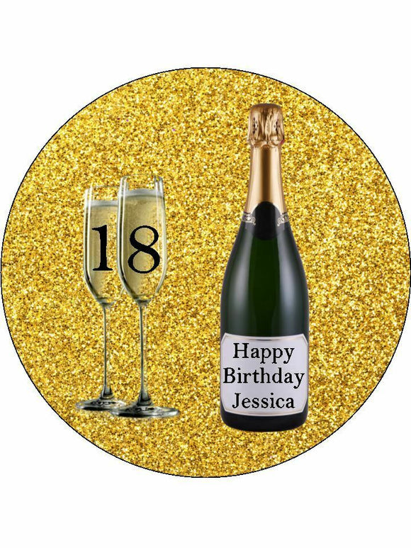 18 21 any age gold champagne Personalised Edible Cake Topper Round Icing Sheet