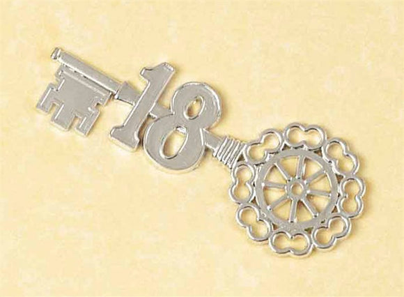 18th Birthday Plastic Silver Key '18' Cake Decoration Motto