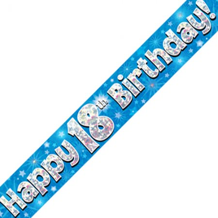 18th Happy Birthday 18 Blue Banner - 2.7m