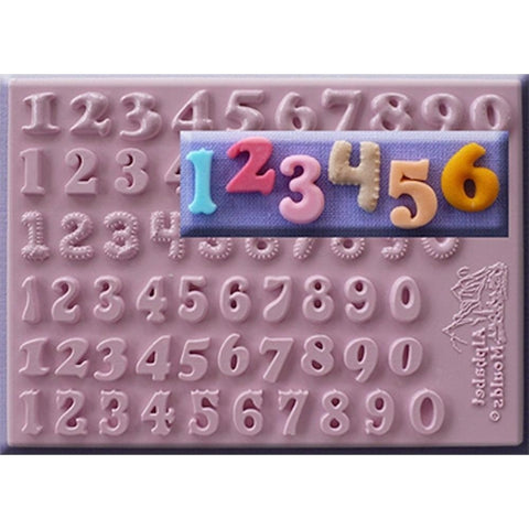 Alphabet Moulds  12mm Numbers Set of 6 Styles Silicone Mould