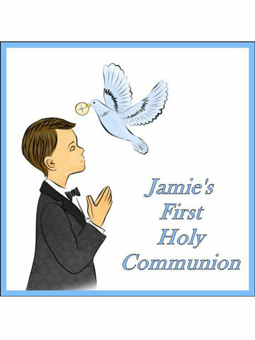 1st Holy Communion Blue Boy Personalised Edible Cake Topper Square Icing Sheet