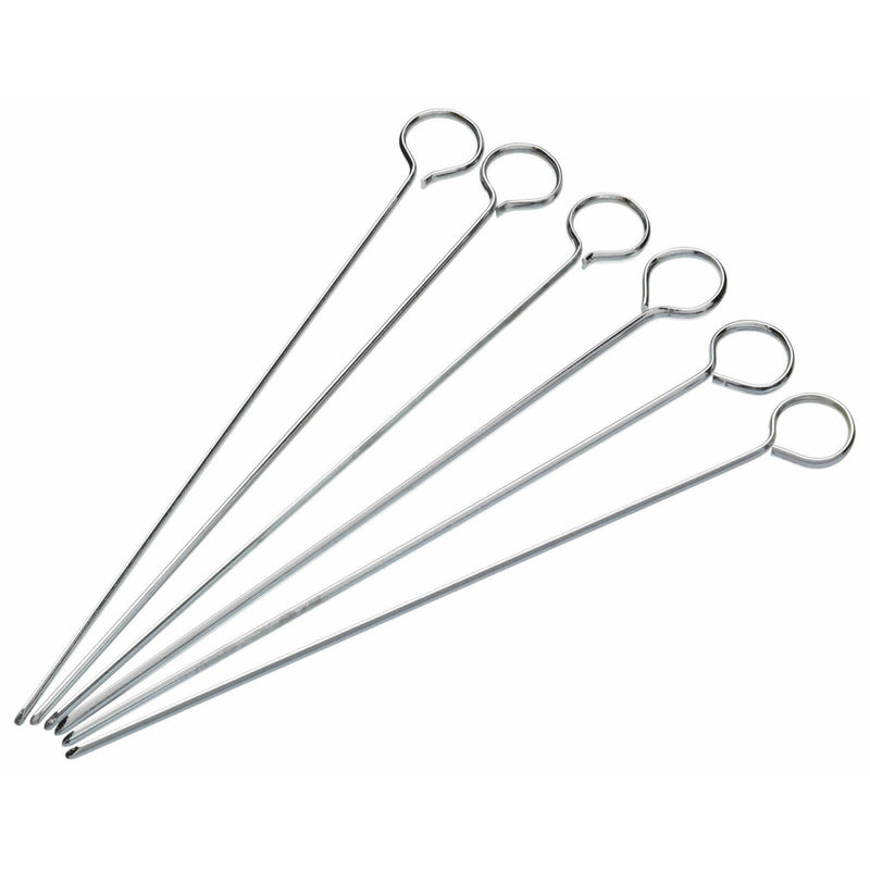 KitchenCraft Pack of Six 15cm Flat Sided Skewers - The Cooks Cupboard Ltd