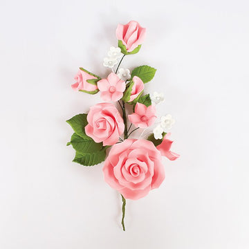 Gum Paste Sugar Floral Pink Rose Spray Cake Decoration