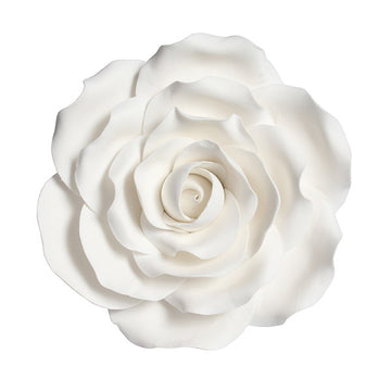Gumpaste Rose White 101mm - Flower Cake Decoration