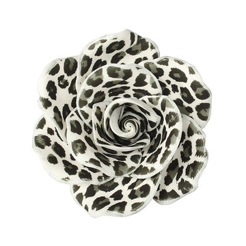 Gumpaste Rose Leopard Print Black & White 90mm