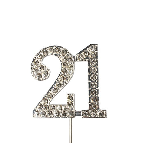 Diamante Number Cake Topper on pick -21