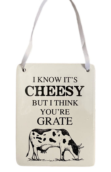 'I Know it's Cheesy but I Think you're Grate' decorative ceramic plaque