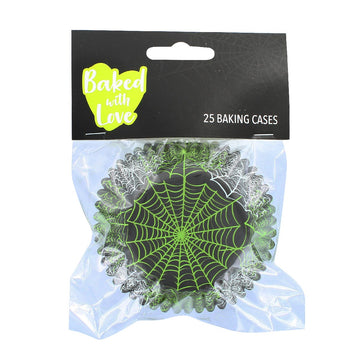 25 Foil Lined Spiderweb Cupcake Baking Cases - Perfect for Halloween