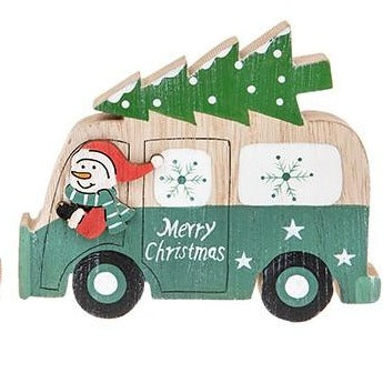 Christmas Standing Campervan decoration - Green