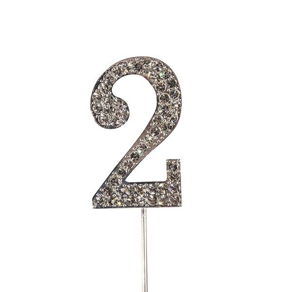 Diamante Number Cake Topper on pick -2 - The Cooks Cupboard Ltd