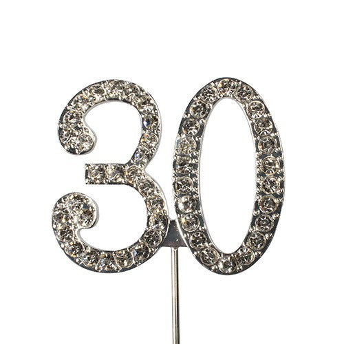 Diamante Number Cake Topper on pick -30