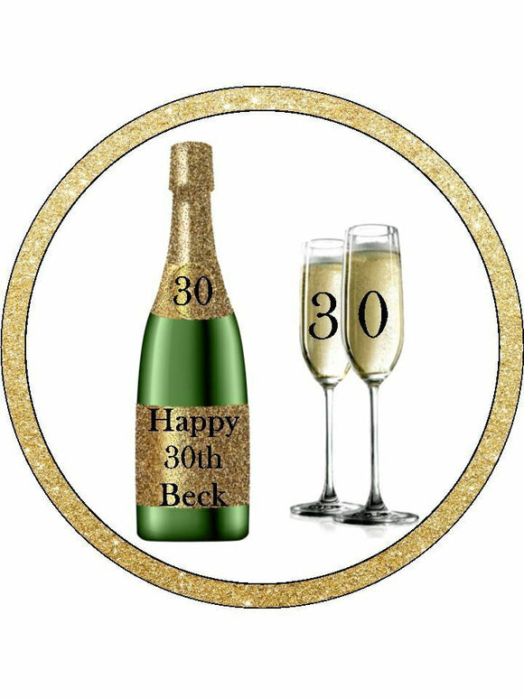 30th birthday gold champagne Personalised Edible Cake Topper Round Icing Sheet