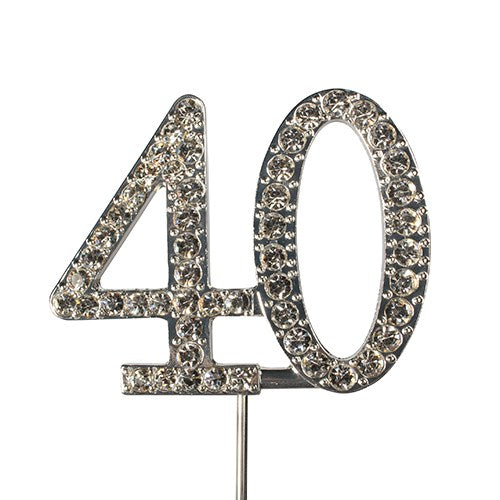 Diamante Number Cake Topper on pick -40 - The Cooks Cupboard Ltd