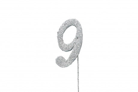 Glitter Number on Stem Instant Cake Topper - 9