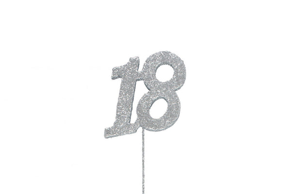 Glitter Number on Stem Instant Cake Topper - 18