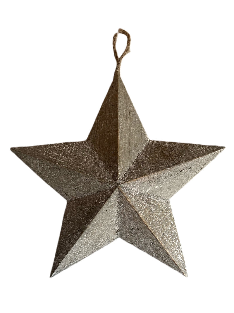 Natural Wooden Hanging Rustic Decorative Star - 29cm - The Cooks Cupboard Ltd