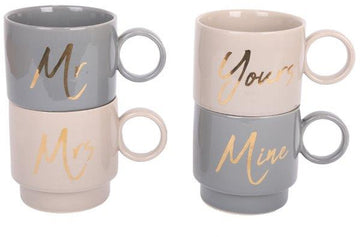 'Yours Mine' 'Mr Mrs' Stackable Grey Mugs