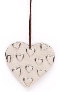 Embossed Silver Metal Hanging Decorative Heart - The Cooks Cupboard Ltd