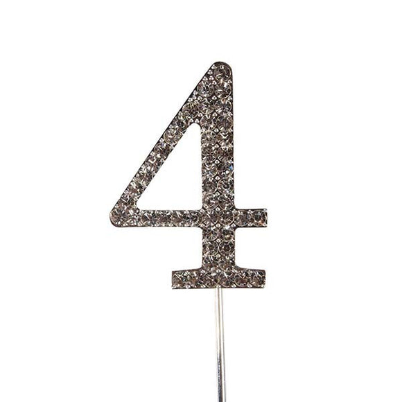 Diamante Number Cake Topper on pick -4