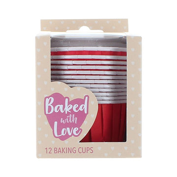 12 Primary Red Baking Cups - 50mm