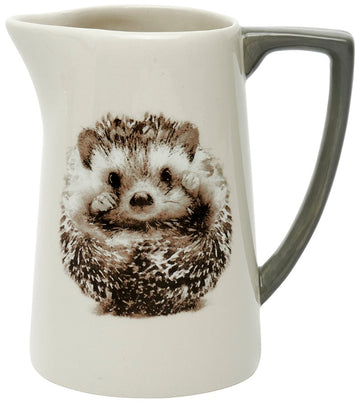 Ceramic Hedgehog Printed Jug with Grey Handle