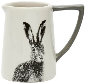 Ceramic Hare Printed Jug with Grey Handle