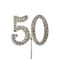 Diamante Number Cake Topper on pick-50