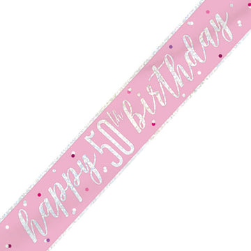 Happy 50th Birthday Glitz Pink & Silver Foil Banner - 9ft