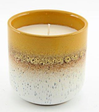 Two Tone Ombre Ceramic Mustard Yellow Candle Pot