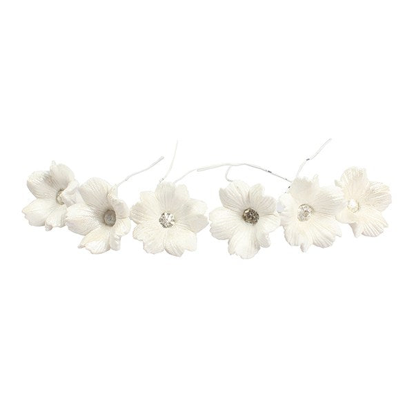 5 Petal Diamante Flower - White Wired Flower with diamante Centre