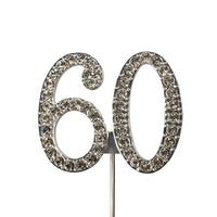 Diamante Number Cake Topper on pick- 60