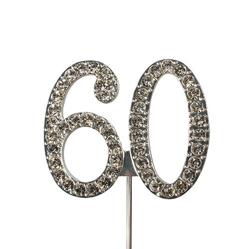 Diamante Number Cake Topper on pick- 60 - The Cooks Cupboard Ltd