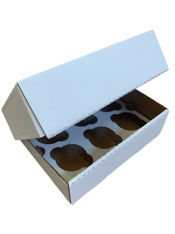 "6 Cavity White Cupcake Corrugated Box and Divider 3"" Deep"