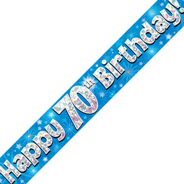 Oaktree 70th Birthday Banner Blue Holographic Banner