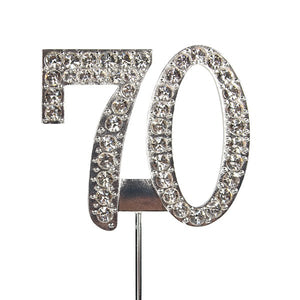 Diamante Number Cake Topper on pick -70