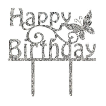 Happy Birthday Cake Topper Butterfly Silver Sparkle by Cake Star