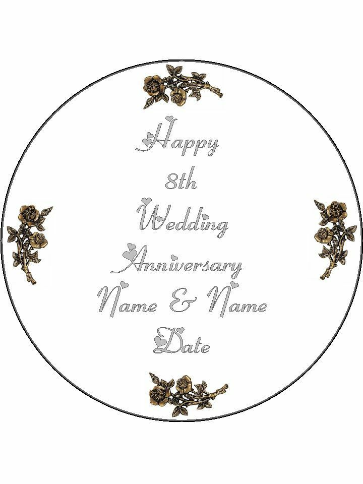 8th Bronze Wedding Anniversary Personalised Edible Cake Topper Round I The Cooks Cupboard Ltd