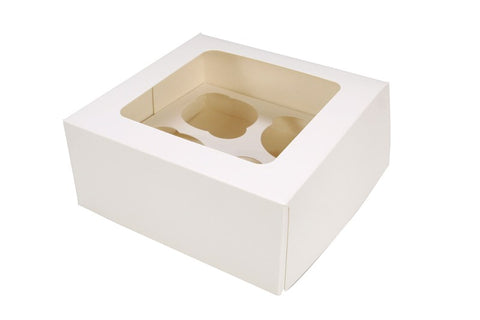 "4 Count White Cupcake Box 3"" Deep"