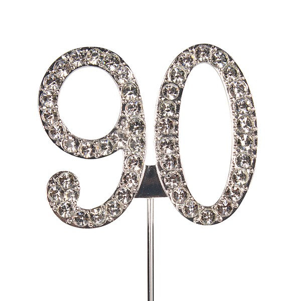 Diamante Number Cake Topper on pick-90
