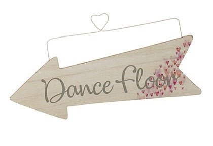 Wooden Event Arrow With Tiny Hearts and Wire Hanger - DANCE FLOOR