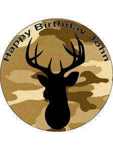 Army Camo hunting deer Personalised Edible Cake Topper Round Icing Sheet