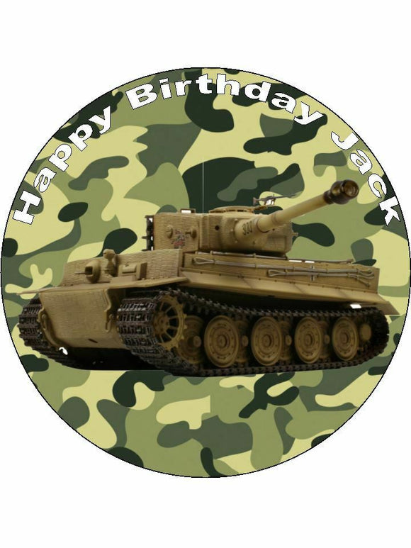 Army Tank Camo green brown Personalised Edible Cake Topper Round Icing Sheet