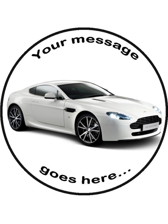 Aston Martin New super car Personalised Edible Cake Topper Round Icing Sheet