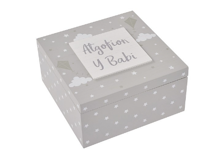 "Baby Memory Box - Welsh Grey Wooden Keepsake Box ""Atgofin y Babi"""