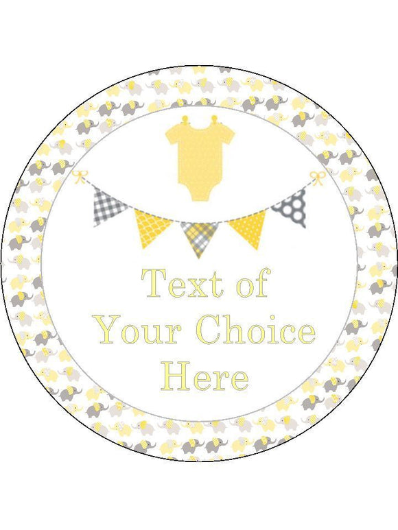 Baby Shower Neutral Lemon Grey Personalised Edible Cake Topper Round Icing Sheet