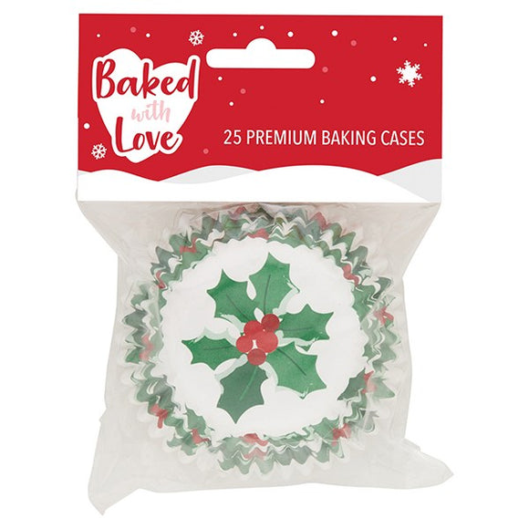 Baked with Love Foil Lined Cupcake Baking Cases Christmas Holly & Berry