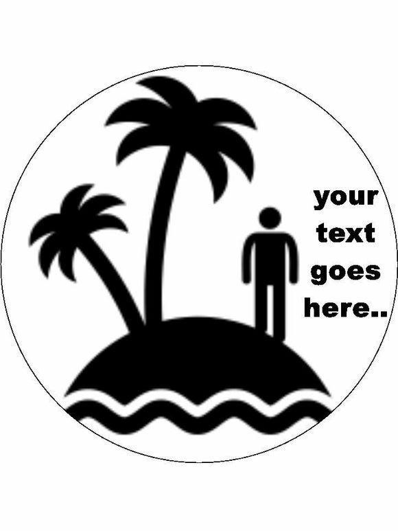Beach island cast away Personalised Edible Cake Topper Round Icing Sheet