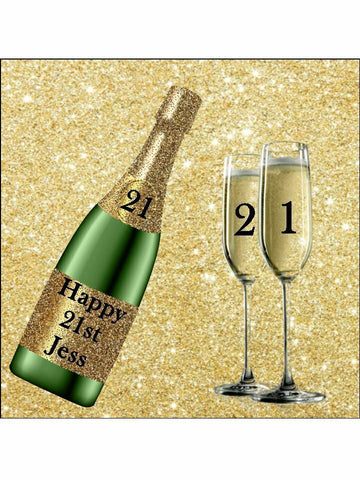 Birthday champagne bottle Personalised Edible Cake Topper Square Icing Sheet