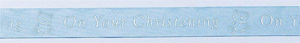 Blue Christening Ribbon with Teddy Bear and text - 24mm width