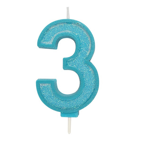 Blue Sparkle Numeral Candle - Number 3 - 70mm